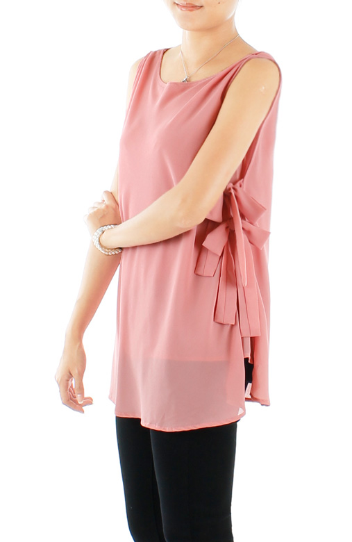 Blush Pink Spring Ribbon Sleeveless Blouse