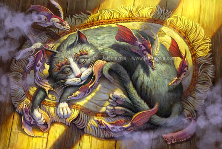 19-Tuna-Dreams-Jeff-Haynie-Cats in Drawings-Paintings-and-Jewelry-www-designstack-co