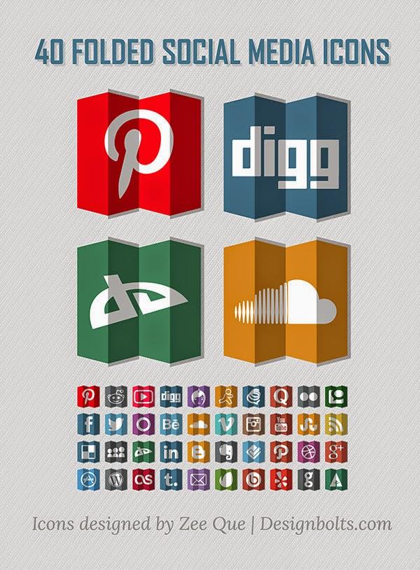 40 Folded Social Media Icons
