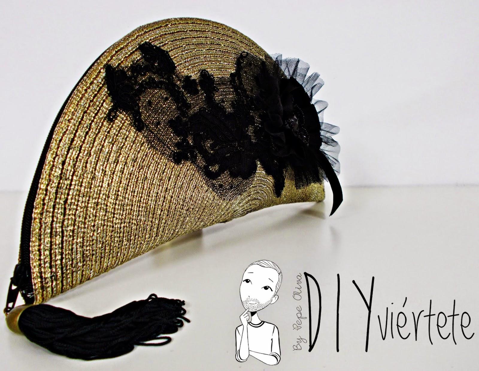 DIY-clutch-cartera-salvamanteles-zarahome-reutilizar-reciclar-bolso fiesta-nochevieja-dorado-encaje-pasamanería-1