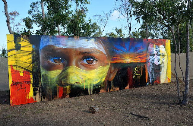 Adnate just finished working on this beautiful piece which was painted in Arnhem Land, a remote part of Australia at an Australian Indigenous Cultural festival called Garma.