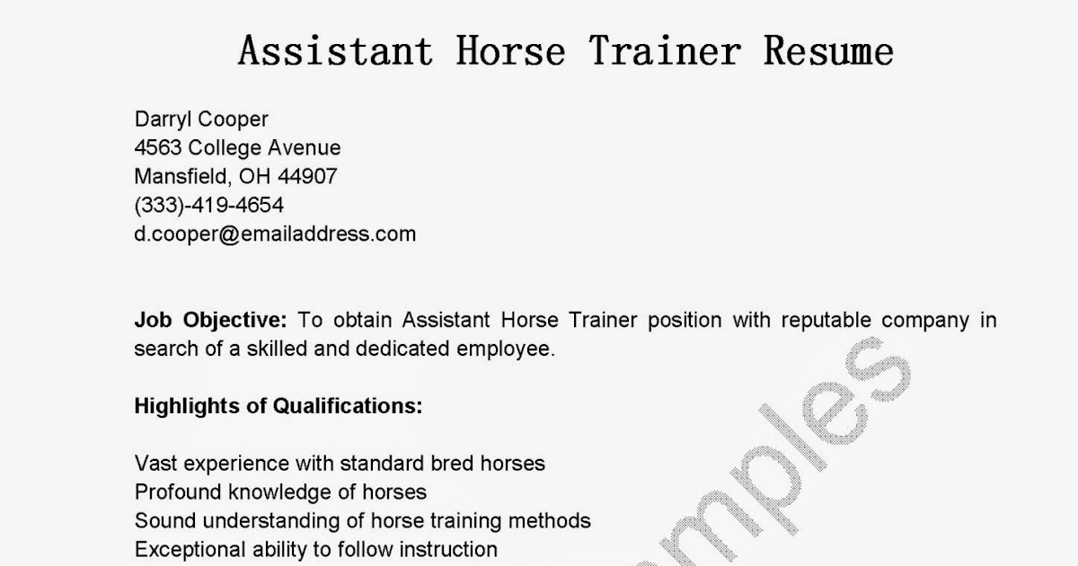 resume samples assistant horse trainer resume sample - Horse Trainer Resume