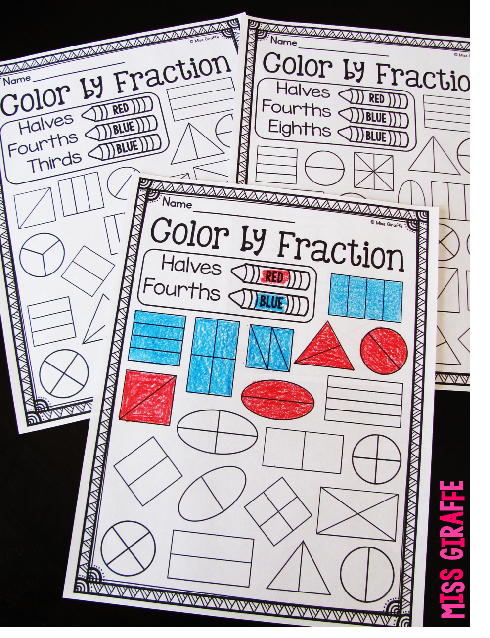 Miss Giraffes Class Fractions in First Grade – Fraction Concepts Worksheets