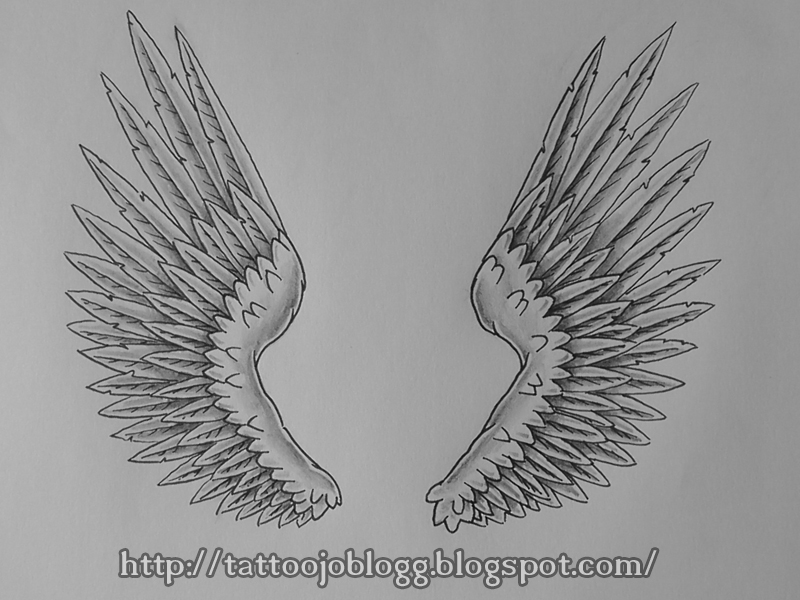 step by step how to draw angel wings
