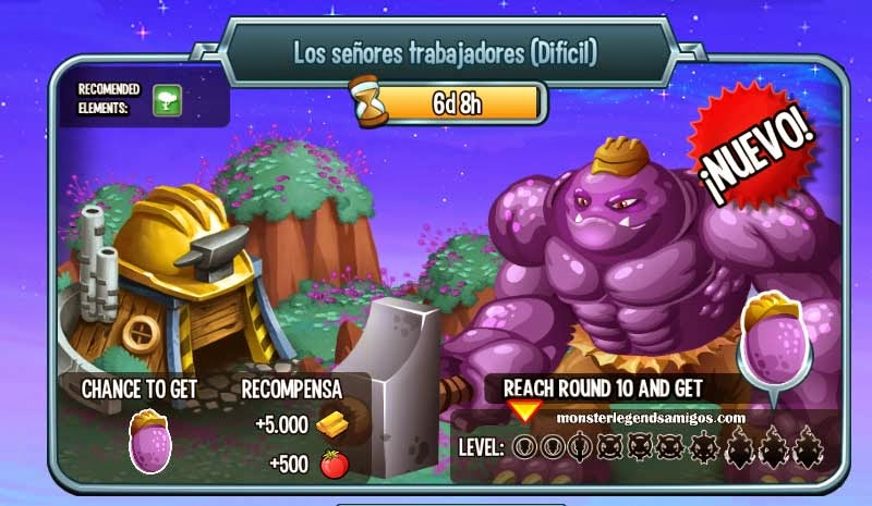 imagen de la mazmorra señores trabajadores de monster legends