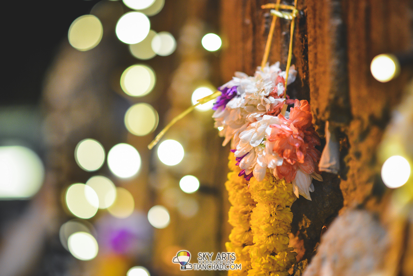 Saw flower ring hanged on the wall of Batu Caves