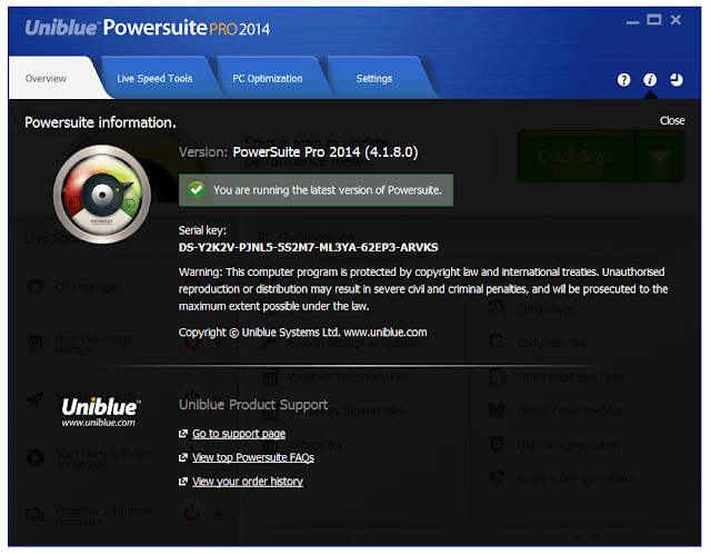 Download Uniblue PowerSuite Pro 2014 with Serial Keys