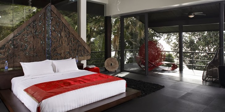Master bedroom in an Amazing contemporary Villa Yin in Phuket