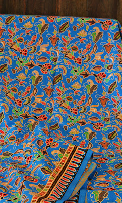 Singapore girl batik fabric bright blue