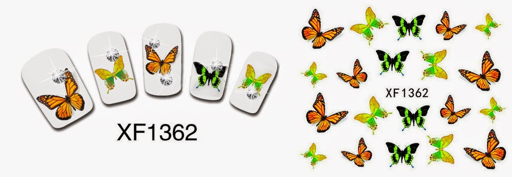 Butterfly water decal xf1362 nail art design born pretty