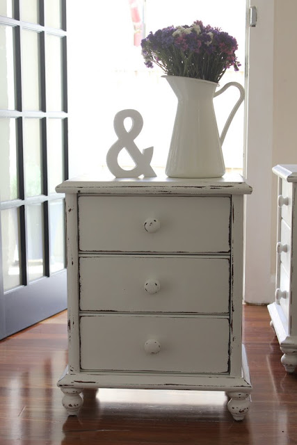 shabby chic white painted bedside tables for sale Sydney Lilyfield life