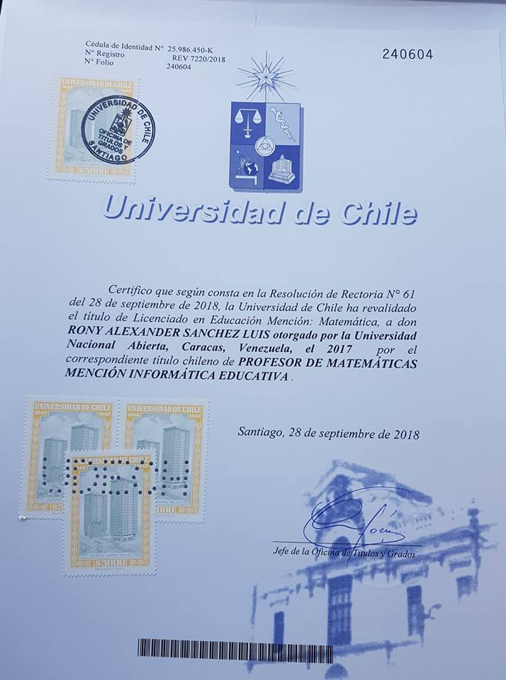 Revalidación de Título  de nuestra Casa de Estudios en el ámbito internacional