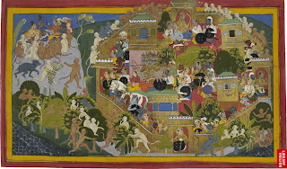 Monkey spies reconnoitre the great fortress city of Lanka, while on each side the generals hold councils of war. Illustration to the Ramayana, c. 1709. British Museum. London.