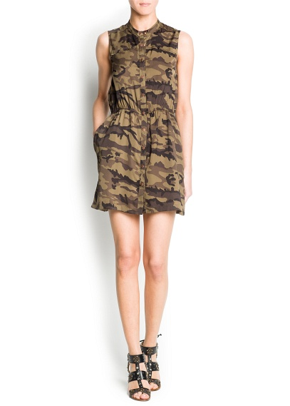 kamuflaj kısa elbise