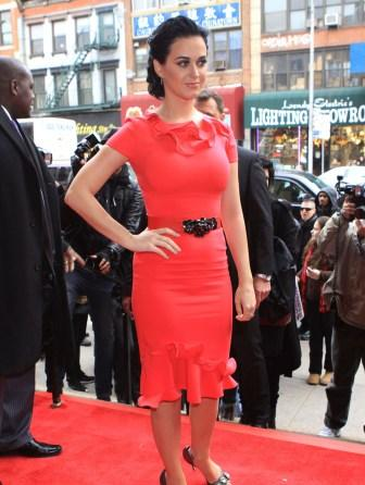 katy perry hot sexy pictures  showing red hot curves in red hot dress at 2012 billboard women in music luncheon in newyork city