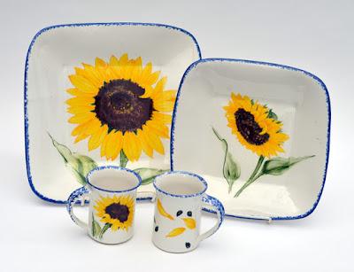 sunflower designs pottery stoneware