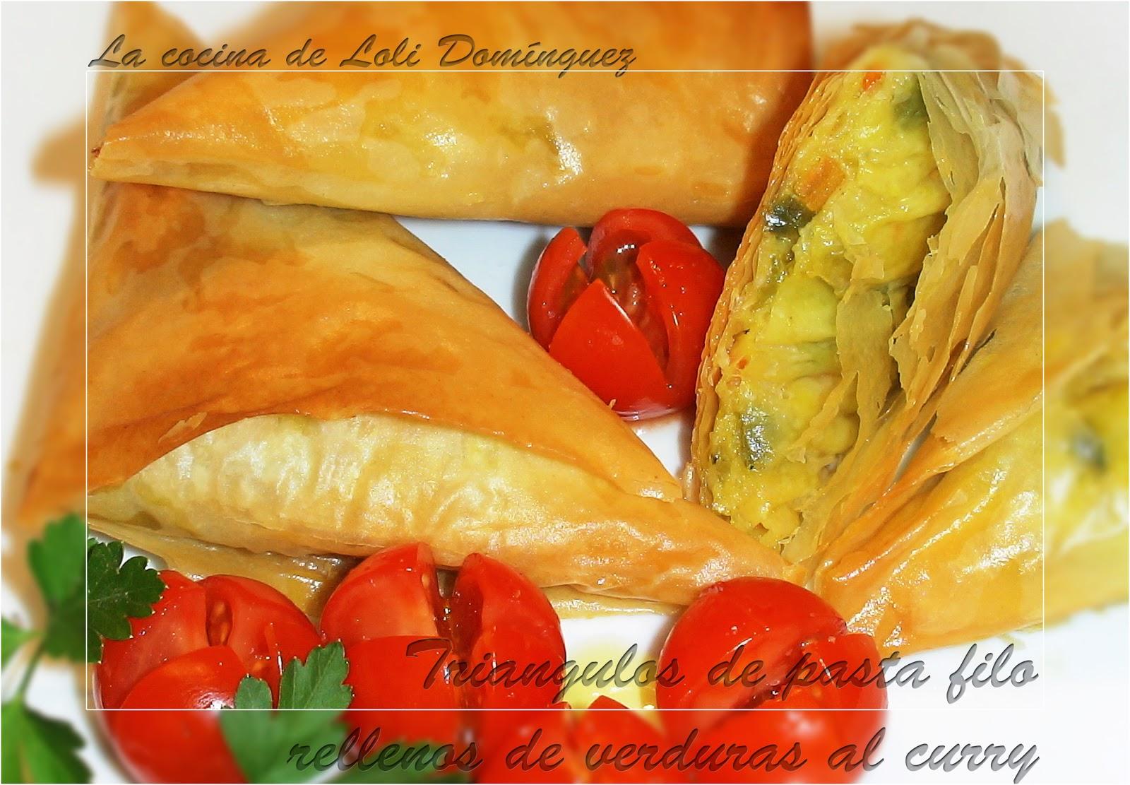 Triangulos de pasta filo rellenos de verduras al curry