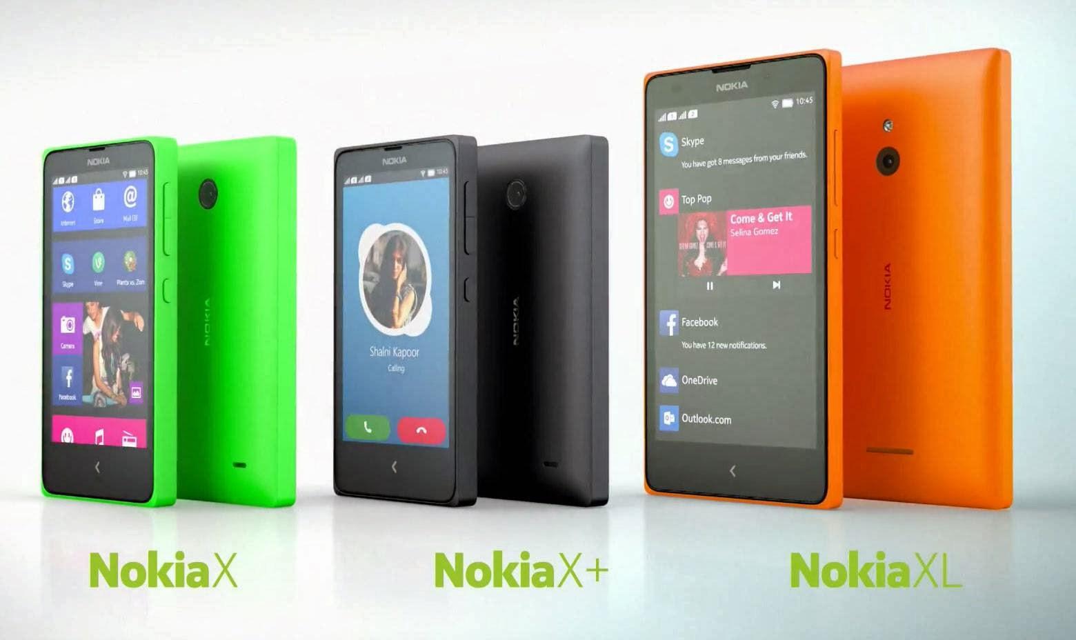 Nokia XL, Nokia X+ Plus and Nokia X