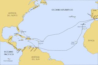 mapa tercer viaje de colon