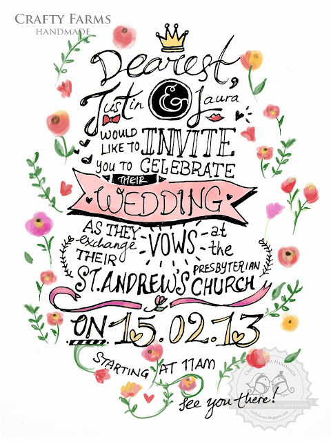 Bespoke hand calligraphy wedding card design by Crafty Farms Handmade