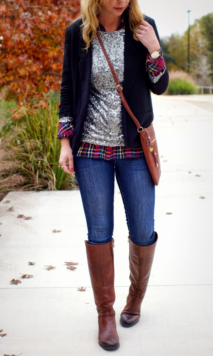 blazer, sequins, plaid and cognac rdidng boots