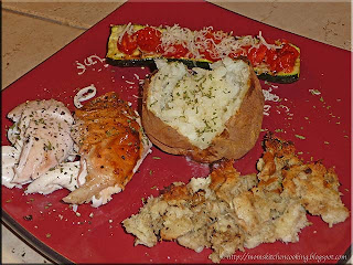 grill roasted chicken with grilled vegetables and stuffing