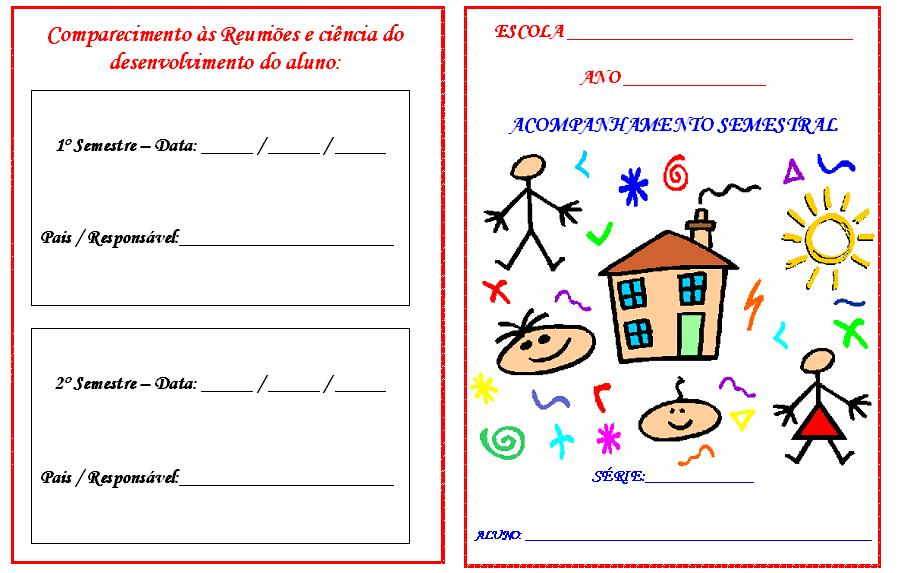 Super AMIGA DA EDUCAÇÃO.: MODELO DE BOLETIM - ACOMPANHAMENTO SEMESTRAL. TK22