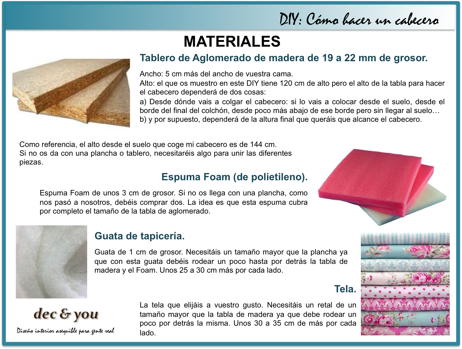 Decandyou ideas de decoraci n y mobiliario para el hogar - Materiales para tapizar ...