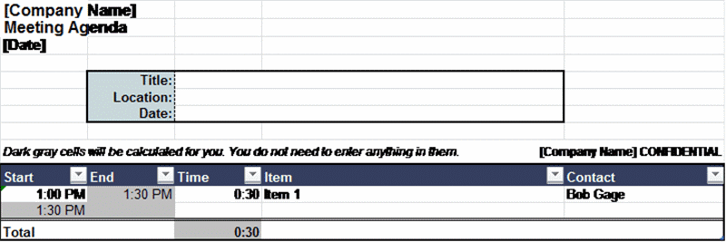 Automatically scheduling agenda, Excel