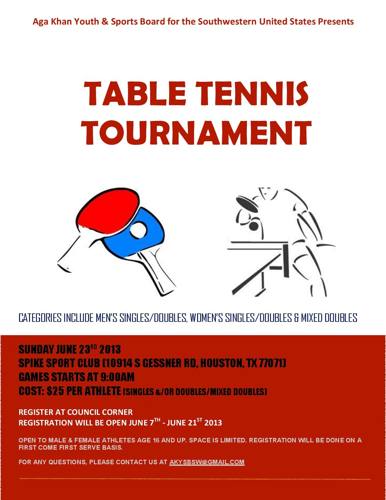 Aga khan youth sports board for the southwestern united for Table tennis tournament template