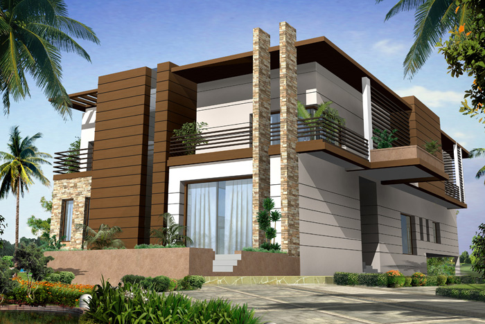 Modern big homes designs exterior views for Big modern house designs