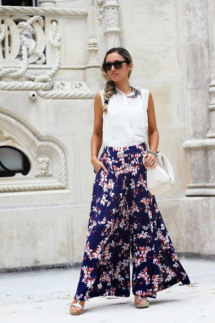 look do dia, ootd, outfit, quinta da regaleira, sintra, padrão floral, tendências, primavera verão 2014, casual look, pantalonas, promod, dicas de imagem, consultoria de imagem, style statement, blog de moda portugal, blogues de moda portugueses