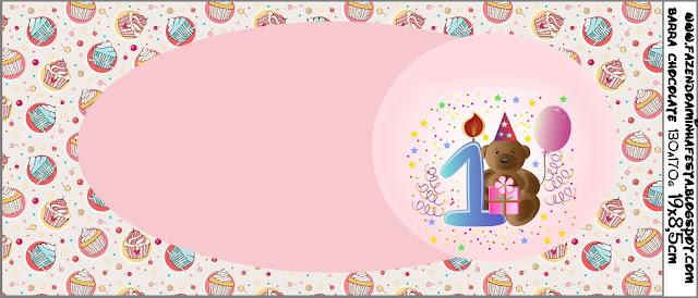 Etiqueta para chocolates para fiesta de Primer Año de Nena, con osito.