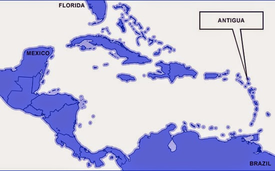 Antigua on the map