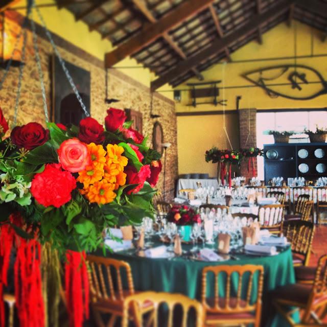 Centros florales colgantes boda Valencia