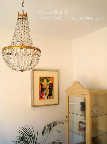 Lámparas de lágrimas antiguas. Comprar chandelier de lágrimas de bronce y cristal.