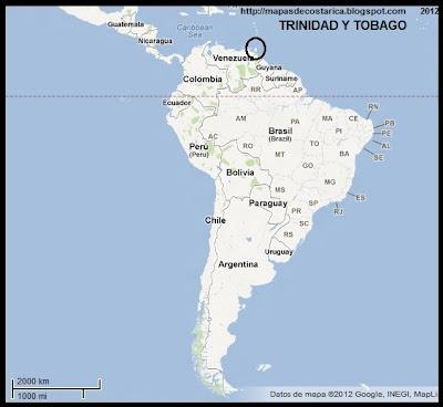 Sudamérica. Ubicación de TRINIDAD Y TOBAGO en Sudamérica, Google Maps