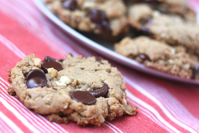 Oatmeal Chocolate Chip Peanut Butter Cookies recipe by Barefeet In The Kitchen