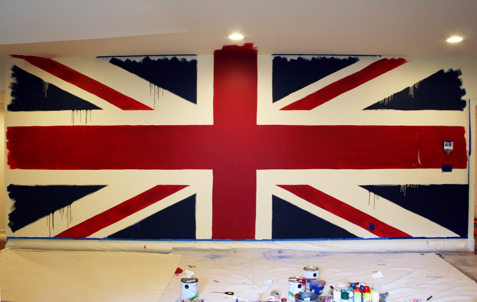 Marvelous The Beatles Union Jack Painted Wall Mural Part 5