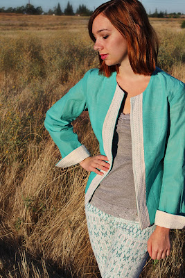 'A' by Anubha, Anubha Srivastav, cotton jacket, khadi jacket, embroidered khadi jacket