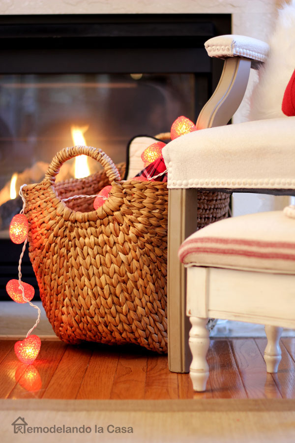 basket with heart lights and white chair