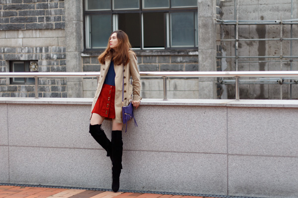 modern retro style, 70s style, fall fashion, suede skirt, over the knee boots, asos, zara, funnel collar, burberry trench, botkier legacy