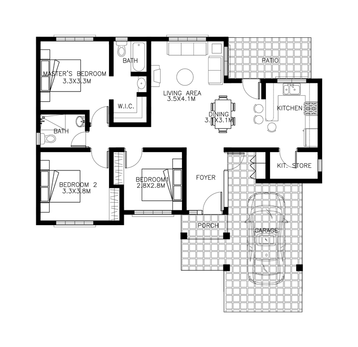 Free lay out and estimate philippine bungalow house for Bungalow house floor plan philippines