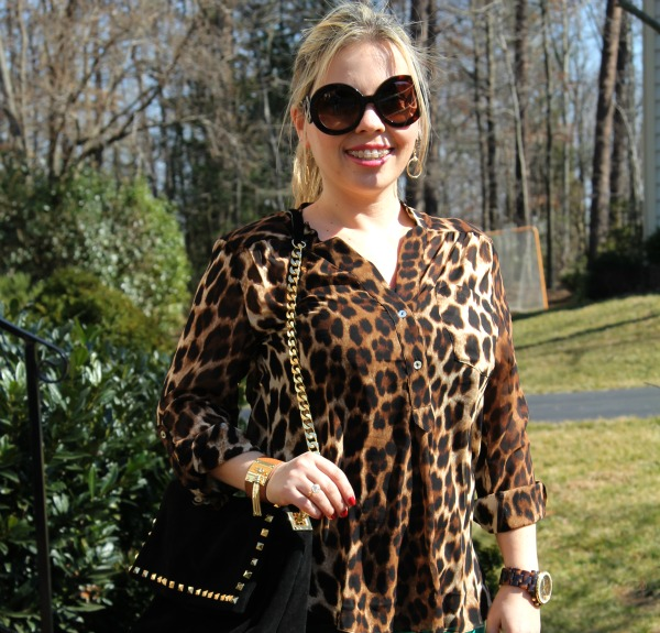 Leopard Print Shirt from Forever 21 (similar here), Studded Suede City Bag from Zara, Baroque Round Sunglasses from Prada, Oversized Madison Chronograph Watch from Michael Kors and bracelet from TJMaxx