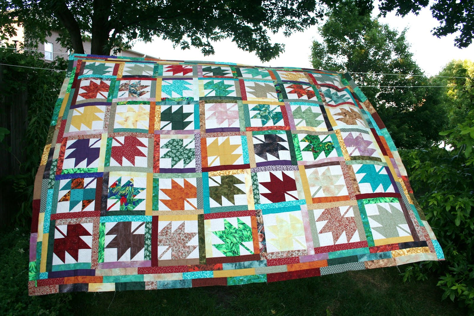 Beautiful Autumn Maple Leaf Quilt Top