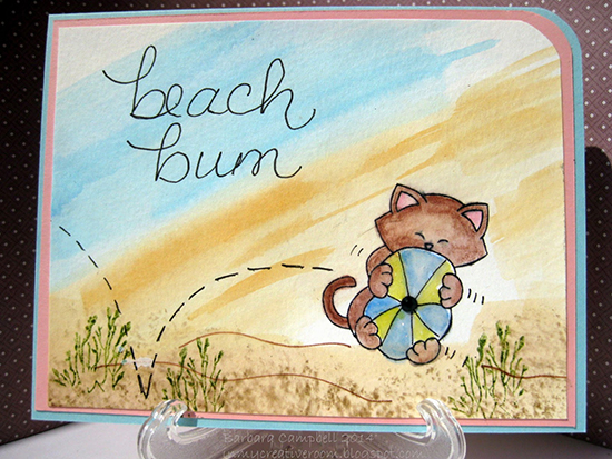 Beach bum cat beach card by Barbara Campbell | Newton's Nook Designs stamps