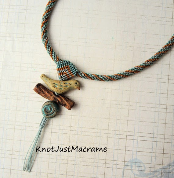 Micro Macrame necklace by Sherri Stokey featuring ceramic beads by Karen Totten.