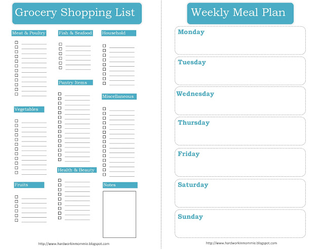 Weekly Shopping Guide printable