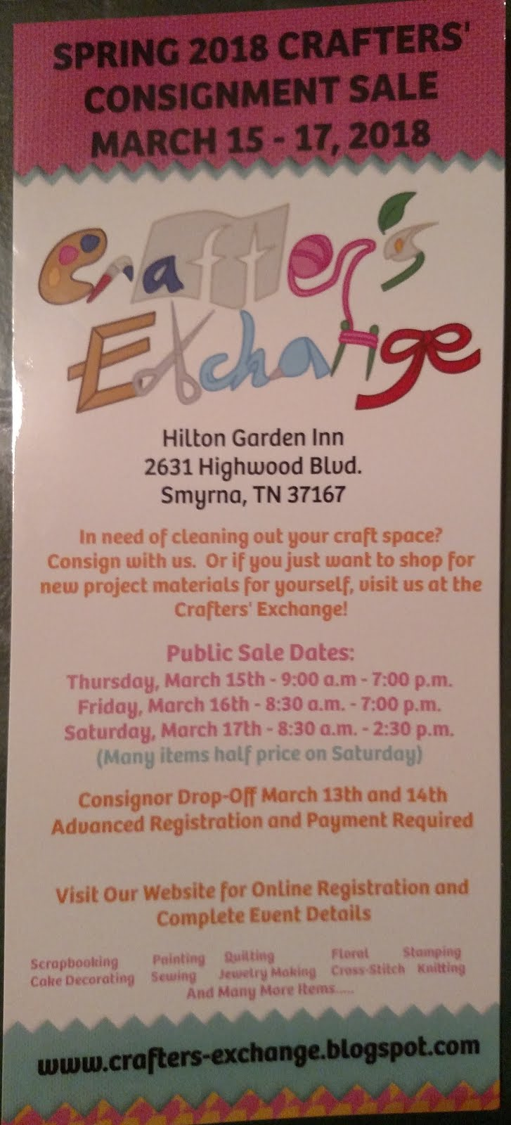 Spring 2018 Crafters' Consignment Sale Flyer