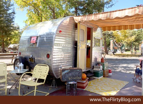 Shes A Yellowstone Brand Canned Ham Trailer How Cute Is She With Her Yellow Chairs Outdoor Rug And Awning If The Way Looks On Outside